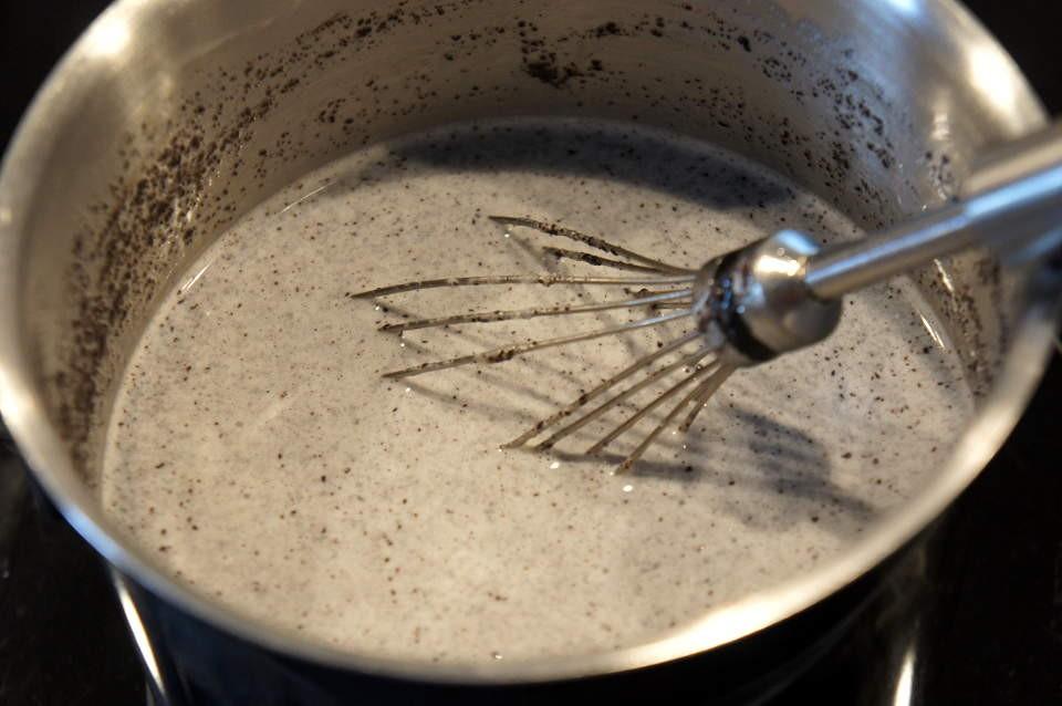 Erhitzen des Eismixes unter ständigem Rühren